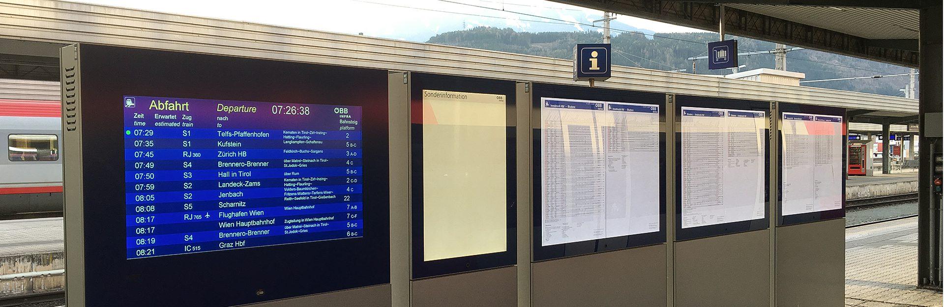 Abfahren Ankommen Bahnhofcenter Innsbruck